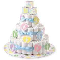 Gift Diaper Cake Decoration KIT Brand New: Baby Shower Cake Baby Cakes, Baby Shower Cakes, Fiesta Baby Shower, Baby Shower Diapers, Diaper Cakes, Nappy Cake, Shower Party, Baby Shower Parties, Baby Shower Themes