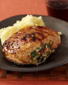 Stuffed Grilled Boneless Pork Chops with Hickory Bacon, Smoked Gouda, and Marmalade Glaze