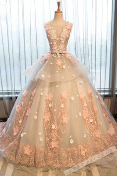 Beautiful lace appliqued champagne organza prom dress, ball gown 2017: