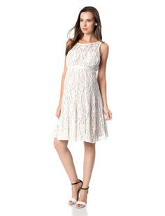 TAYLOR A Pea in the Pod Ivory Lace Sleeveless Belted Maternity Dress