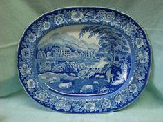 1830s Staffordshire, England blue transferware meat platter. 20.5 x 16.25. Fab blue color/pastoral scene!!