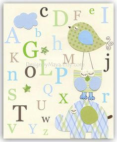 Baby boy Room, wall art Decor, Children Art print, elephant, owl, bird, match to the colors Eli bedding set, children decor, kids wall art
