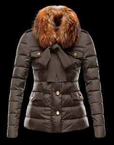 Moncler Cachalot Fur Collar Jacket Women Coffee [2900352] - £200.69 : 5% off discount code: happywinter