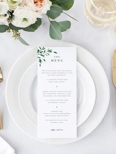 From elegant to artistic to botanical, we've rounded up the best Etsy wedding menu templates for easy printing and stylish table setting! Simple Wedding Menu, Wedding Menu Cards, Wedding Stationary, Simple Weddings, Minimal Wedding, Trendy Wedding, Floral Wedding, Wedding Invitation, Wedding Vintage