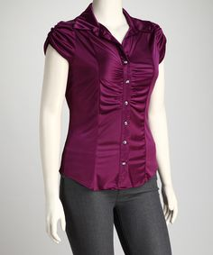 Take a look at this Magenta Plus-Size Button-Up Top by SHE: Plus-Size on @zulily today!
