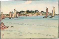 """Henri Rivière,  """"Gabares devant l'île à Bois"""""""