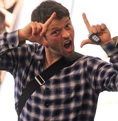 Misha making faces at the paparazzi.