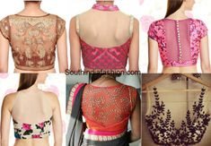 Here are a few sheer blouse back neck designs you should try out just because they're that pretty! Back neck designs...trendy blouse designs..net blouses