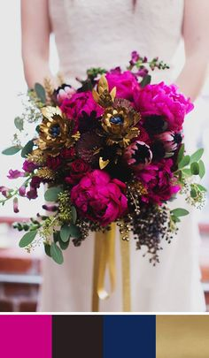 A chic and contemporary color combo of fuschia, black, navy and gold. Source: june bug weddings. #fuschia #bouquet #colorpalette