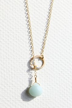 seafoam blue amazonite briolette and a gold filled circular hoop lariat necklace, SeaAndCake