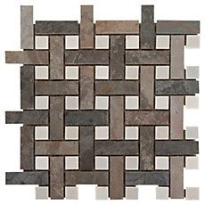 Earth Basket Weave Decorative Slate Mosaic