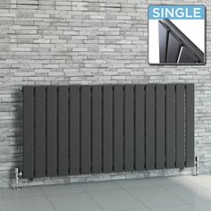 Hayes Horizontal Flat Panel Contemporary Gas Radiator in Anthracite 600mm x 1212mm