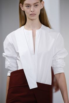 White shirt & skirt reinvented with an asymmetric cut; fashion construction details // Jil Sander Spring 2015