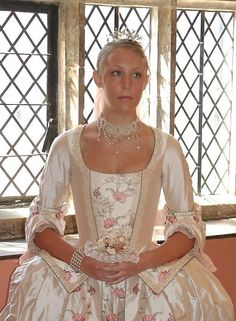 A Stunning Eighth Century Style In Cloud Pink Regal Dupion This Period Wedding Gown Consists Of Corseted Jacket Bodice