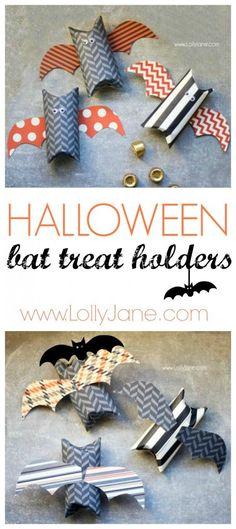 Cute Halloween bat treat holder made from toilet paper rolls