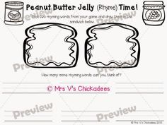"""Peanut Butter Jelly (Rhyme) Time"" is a fun way to practice rhyming words. Students build peanut butter and jelly sandwiches by matching rhyming pictures. The game comes with sandwich pieces and two choices of writing extensions. TpT store: Mrs V's Chickadees"