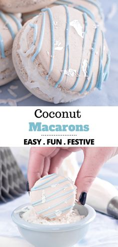 Coconut Macarons are way easier than you might think! This French macaron recipe is deliciously flavored with coconut extract and have added shredded coconut to the filling. The perfect dessert for any occasion. Macarons Easy, French Macarons Recipe, Vanilla Macarons, Macaron Recipe, No Bake Desserts, Easy Desserts, White Food Coloring, Cake Recipes, Dessert Recipes