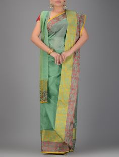 Buy Green Yellow Handwoven Tangail Cotton Saree Sarees Woven Tales and gamcha Online at Jaypore.com