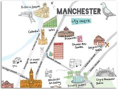Snippet of an illustrated map of Manchester to be printed at and folded ready to pop in the gift bags for the Manchester/China Forum. Manchester Map, Manchester City Centre, Bolton England, Midland Hotel, Travel Clipart, Salford, Travel Illustration, Toddler Fun, British Isles