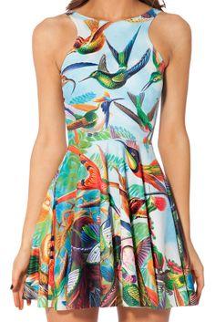 Blue Sleeveless Birds Print Pleated Dress - Sheinside.com