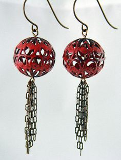 Lantern Tassel Earrings by GlassAddictions, via Flickr