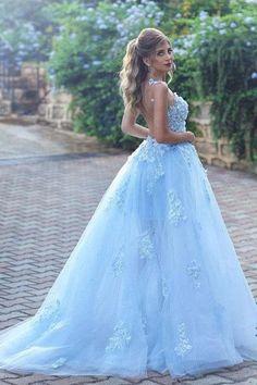 dc9de0ceaf7 Light Blue Lace Appliques Ball Gown Tulle Prom Dresses UK,Princess Wedding  Dresses UK PH332