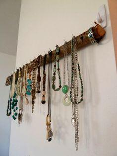 The Braided Bandit: DIY Tree Branch Jewelry Rack.  love it!