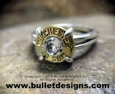 Stunning beauty!  Stand out in the crowd with our 40 Caliber Sterling Silver Bullet Ring!  The Sterling Silver ring base is adorned with a real, recycled 40 Cal