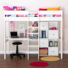 Cool Girl Beds with Desks | Wooden Highsleeper with Desk and Storage - Jibber Jabber Personalised ...
