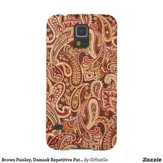 Brown Paisley, Damask Repetitive Pattern Print Cases For Galaxy S5