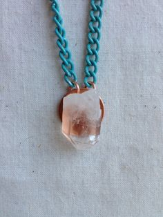 Crystal and copper pendant necklace on turquoise by bareroots, $16.00