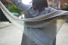 Duane Park Triangle, an asymmetrical, triangular shawl knits up quickly in two colors of fingering weight yarn. Its casual elegance will make Duane Park Triangle your go-to shawl this fall. The original design calls for Wanton Fibers Haughty Sock --. Knitted Shawls, Knitted Blankets, Crochet Shawl, Knit Crochet, Lace Shawls, Knit Scarves, Shawl Patterns, Knitting Patterns, Knitting Ideas