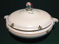 1930s Art Deco Booths Old Ivory Silicon China Elizabethan Lidded Terrine Dish