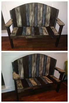 Bench made from several repurposed pallets, stained and covered in chalk paint. #LivingRoom, #PalletBench, #RecycledPallet