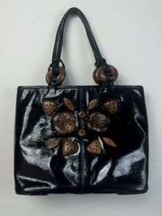 Renaud Pellegrino Black Patent Leather Tote Wood Beads Purse Hand bag Hawaiian #RenaudPellegrino #TotesShoppers