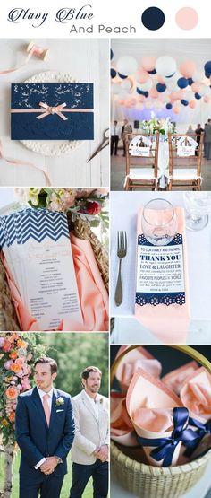 navy blue wedding invitation with peach ribbon for navy and peach weddings