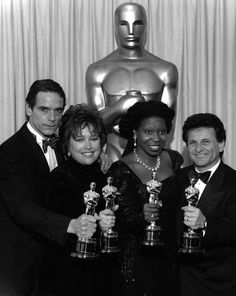 "1990 Academy Award Winners: Jeremy Irons - Best Actor for ""Reversal of Fortune"", Kathy Bates - Best Actress for ""Misery"", Whoopi Goldberg - Best Supporting Actress for ""Ghost"", and Joe Pesci - Best Supporting Actor for ""Good Fellas"" Academy Award Winners, Oscar Winners, Academy Awards, Oscars, Best Actor Oscar, Denis Villeneuve, Jeremy Irons, Whoopi Goldberg, Actor Studio"