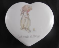 Precious Moments Heart Shaped Porcelain Trinket Box God Made All Things From 1984 Enesco by SusieSellsVintage on Etsy