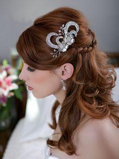 Silver Crystal Leaf Headpiece Wedding Head piece by GildedShadows