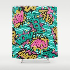 """Pink Comic Book"" Shower Curtain by Season Of Victory on Society6."