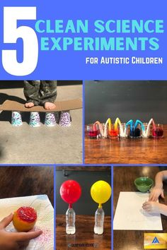 We have picked 5 clean science experiments that are quiet and don't require children to get their hands messy, since these can be typical triggers for autistic children. Preschool Science Activities, Autumn Activities, Craft Activities For Kids, Science For Kids, Science Experiments, Stem Projects, Autistic Children, Walking Water Experiment, 16 Oz Water Bottle