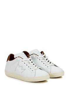 Leather Crown - Sneakers - Donna - Sneaker in pelle con suola in gomma. Tacco 30, platform 20 con battuta 10. - BIANCO\BRONZO