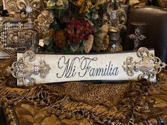 Michelle Butler Mi Familia Plaque | Reilly-Chance Collection Tabletop Accessories, Luxury Home Decor, Lamp Design, Old World, Butler, Open House, Picture Frames, Beautiful Pictures, Retail