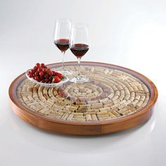 Round Wine Cork Serving Tray Kit