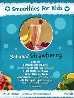 The Banana/Strawberry Smoothie.  Do you love making smoothies? This easy-to-do recipe is great for kids and kids at heart... You should try this now! #banana #kale #honey #strawberry #coconut