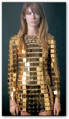 1970s Paco Rabanne Gold Dress