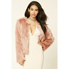 Forever21 Faux Fur Jacket ($50) ❤ liked on Polyvore featuring outerwear, jackets, mauve, forever 21, long sleeve jacket, forever 21 jackets, fake fur jacket and faux fur jacket