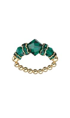 Ring with Swarovski® Crystal Beads and Gold-Plated Beads