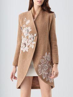 Shop Coats - Camel V Neck Embroidered A-line Elegant Coat online. Discover unique designers fashion at StyleWe.com.