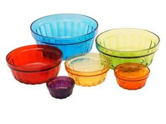 """Colorful Glass Mixing Bowl Set of 6 - 1 of Each Color, Largest = 8""""D x 3.75""""H by Traders and Company, http://www.amazon.com/dp/B00AWDTSKS/ref=cm_sw_r_pi_dp_k1ndrb0KEW6DT"""